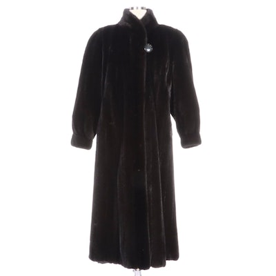Mary McFadden Black Platinum Mink Fur Full-Length Coat with Banded Cuffs