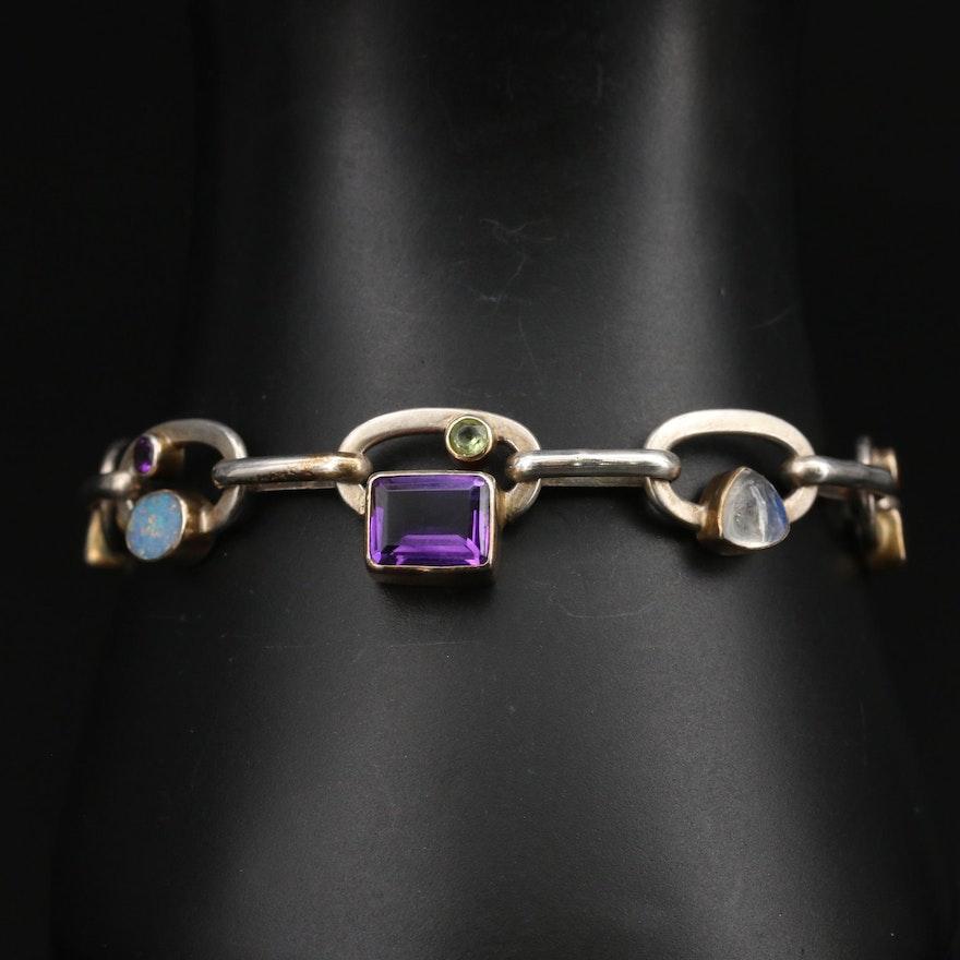 Sterling Silver Amethyst, Labradorite and Opal Bracelet