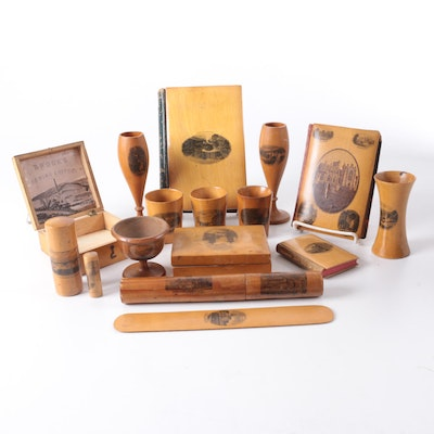 Wooden Souvenir Boxes, Cups, and Books, Late 19th to Mid 20th Century