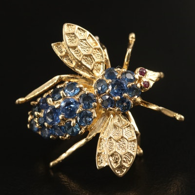 18K Sapphire and Ruby Bee Converter Brooch