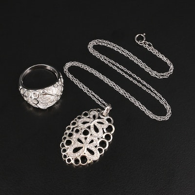 Fine Silver Diamond Butterfly Pendant and Ring with Sterling Chain