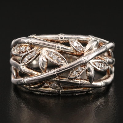Sterling Diamond Bamboo Ring
