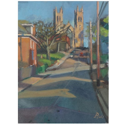 "William Pfahl Oil Painting ""View of Church Place,"" 2017"