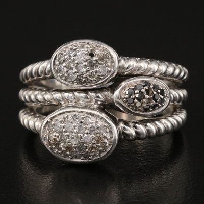 Sterling Pavé Diamond Ring