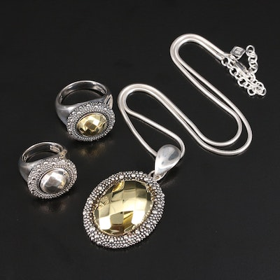 Michael Dawkins Sterling Pendant and Rings with Fine Silver Chain