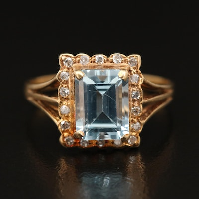 14K Topaz and Diamond Ring with Fluted Frame