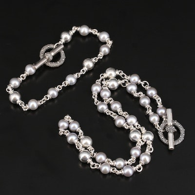 Michael Dawkins Sterling Pearl Necklace and Bracelet Set
