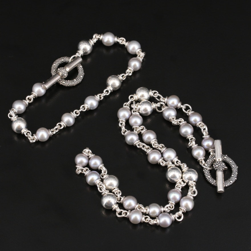 Michael Dawkins Sterling Pearl Necklace and Bracelet Set