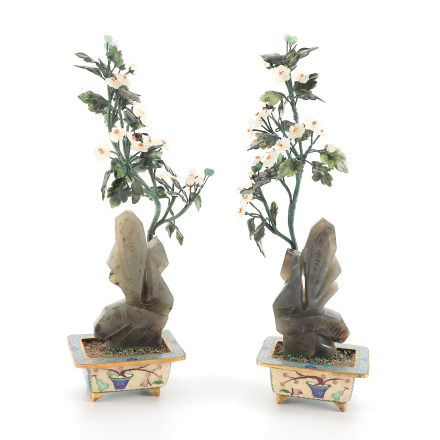 Chinese Style Carved Stone Flowers with Cloisonné Bases Bonsai Trees