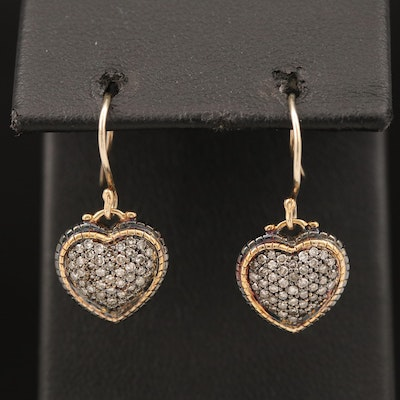 Sterling Diamond Heart Earrings