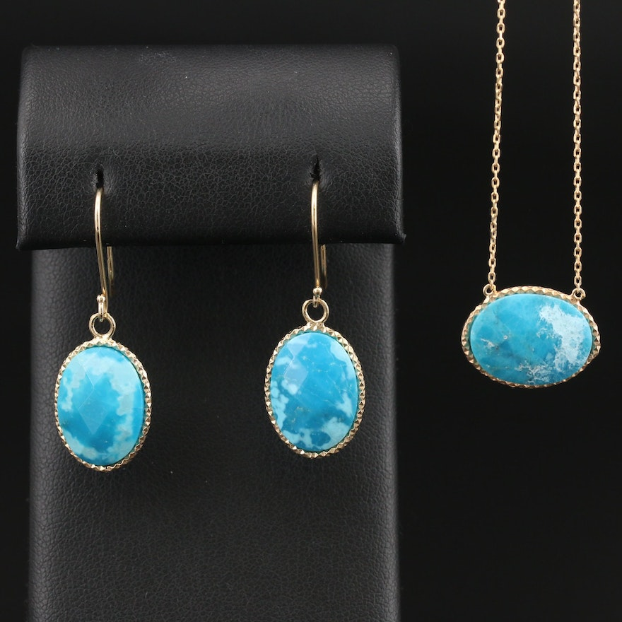 Sterling Turquoise Necklace and Earring Set