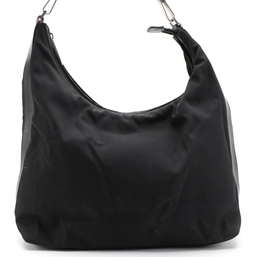 Gucci Hobo Shoulder Bag in Black Nylon with Leather Trim