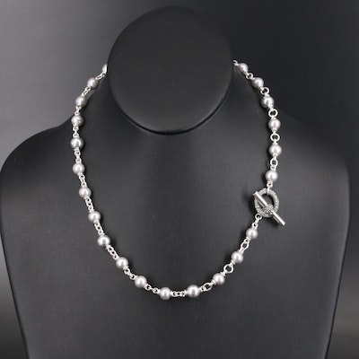 Michael Dawkins Sterling Pearl Station Necklace