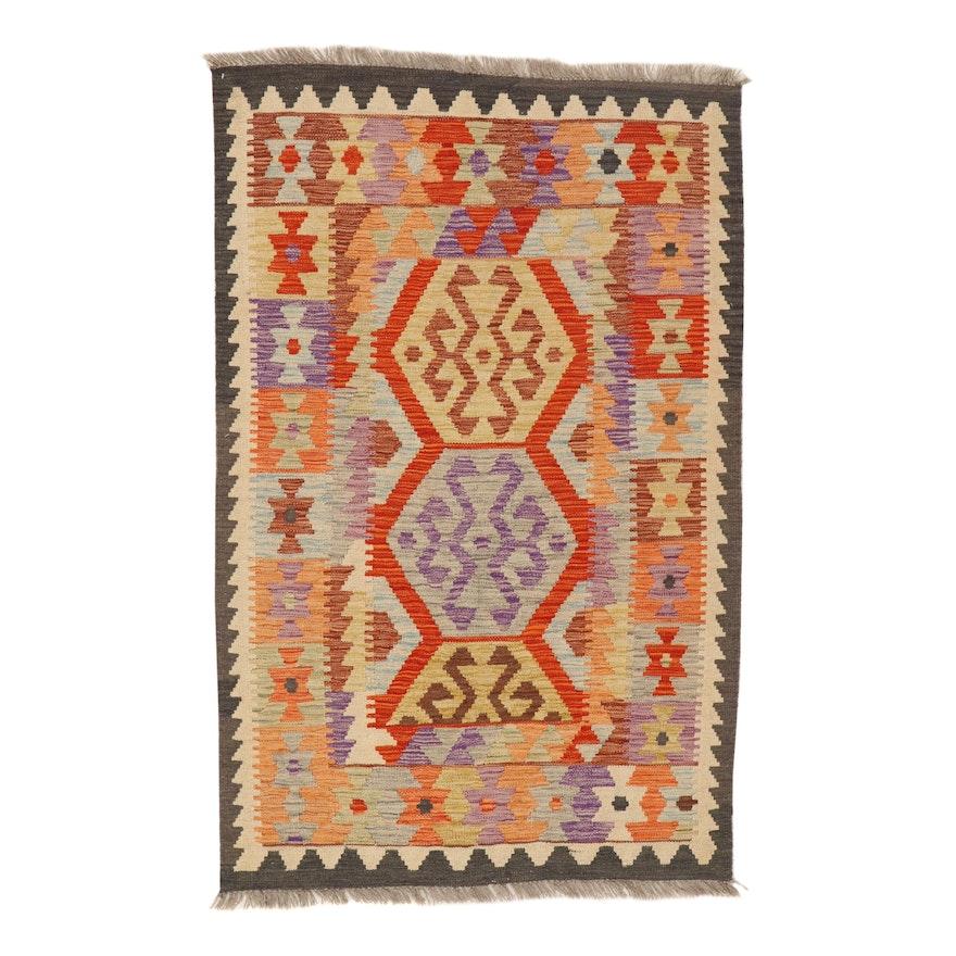 3'5 x 5'6 Handwoven Turkish Caucasian Kilim Rug, 2010s