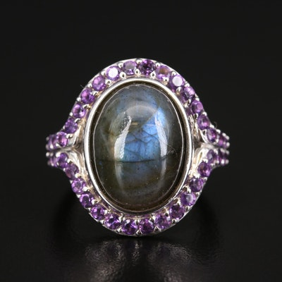 Sterling Silver Labradorite and Amethyst Halo Ring