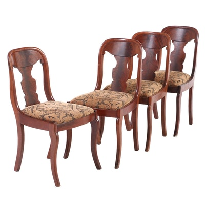 Empire Style Mahogany Upholstered Side Chairs, Early to Mid 20th Century