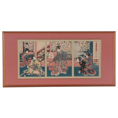 "Utagawa Kunisada Woodblock Triptych ""Flower Arranging,"" circa 1850"