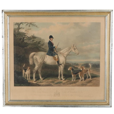 Edward Hacker Hand-Colored Engraving after W. & H. Barraud of Hunting Scene