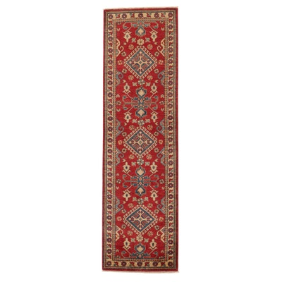 2'9 x 9'9 Hand-Knotted Afghan Kazak Carpet Runner, 2010