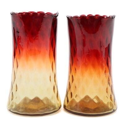 Blenko Style Amberina Glass Vases, Mid-20th Century
