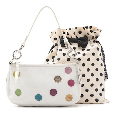 Coach Mini Dot Bag in White Leather with Daiso Drawstring Pouch
