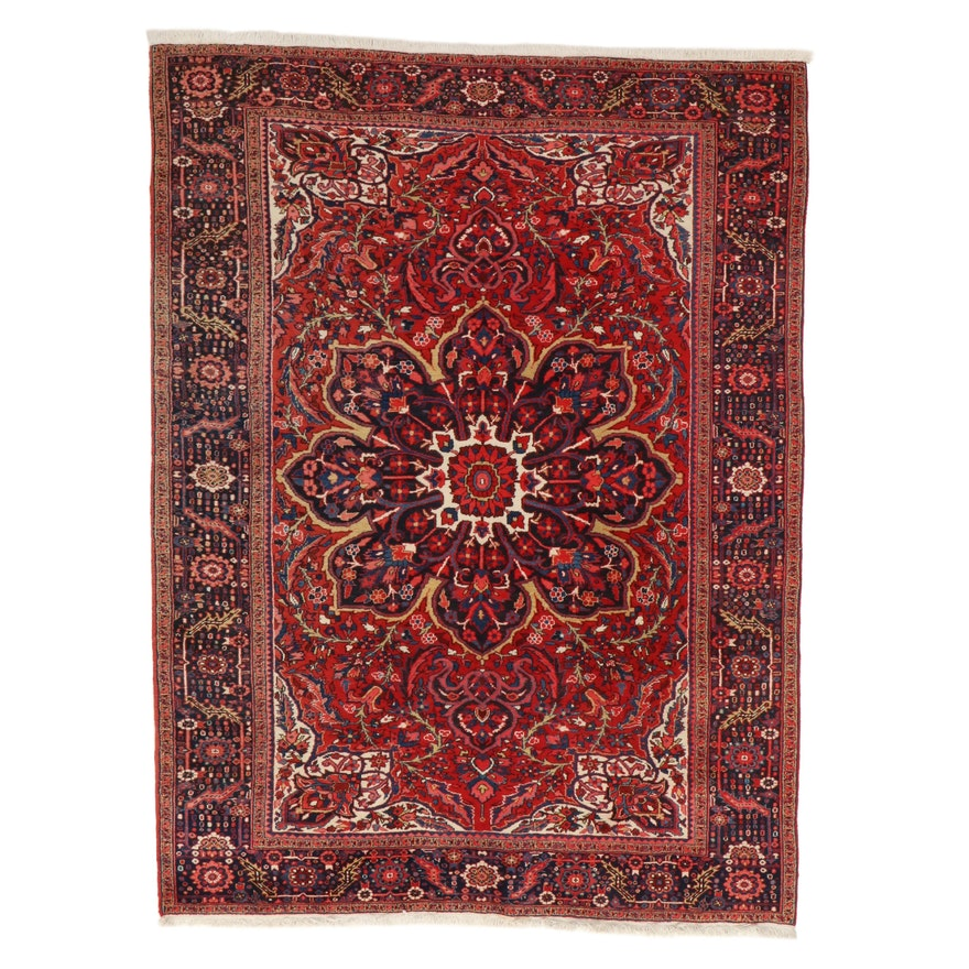 8'7 x 11'10 Hand-Knotted Persian Heriz Room Sized Rug, 1960s