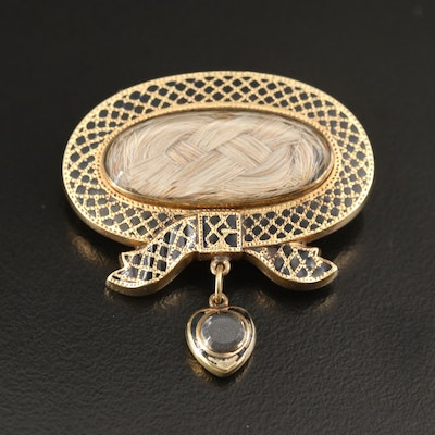 Early Victorian 14K Enamel and Woven Hair Mourning Brooch