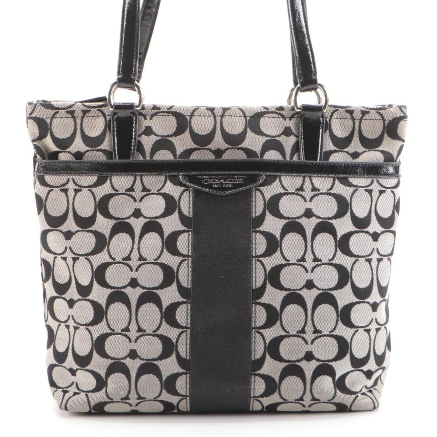 Coach Daisy Shoulder Bag in Signature Canvas and Black Patent Leather