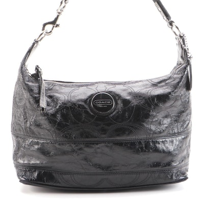 Coach Signature Stitched Hobo Bag in Black Textured Patent Leather