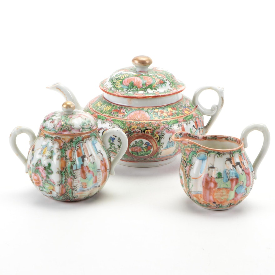 Chinese Rose Medallion Porcelain Assembled Tea Set, Late 19th to Early 20th C