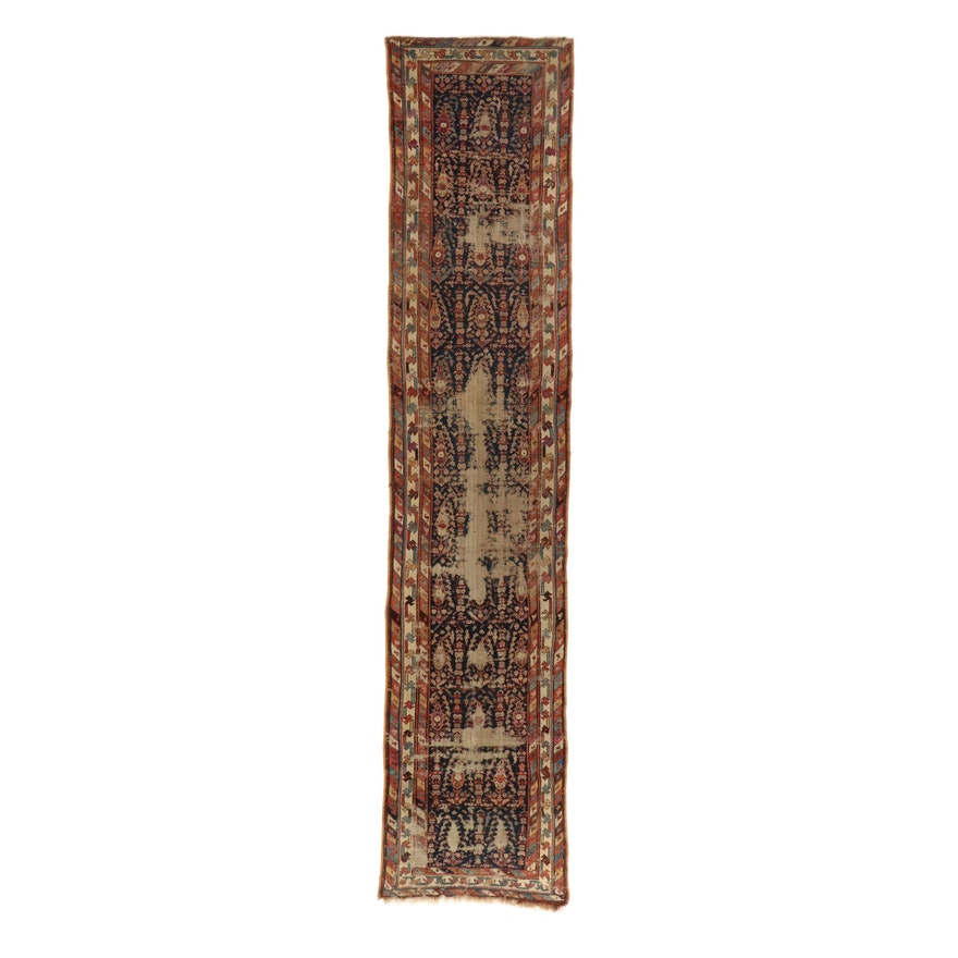 2'11 x 14'2 Hand-Knotted Northwest Persian Bakhshayesh Wool Runner, 1880's