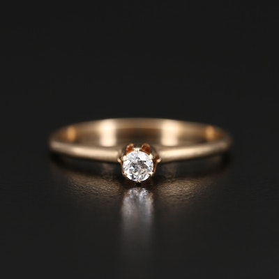 Vintage Otsby & Barton Co. 14K 0.11 CT Diamond Solitaire Ring