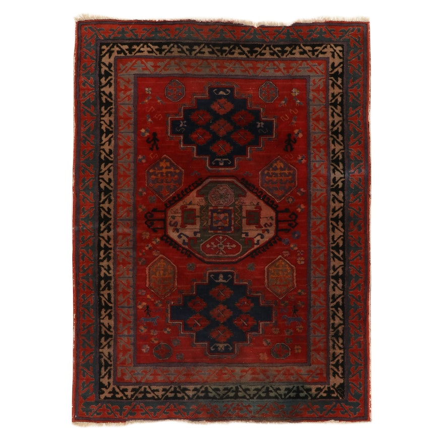 5'5 x 7'6 Hand-Tufted German Pictorial Wool Rug, 1920s