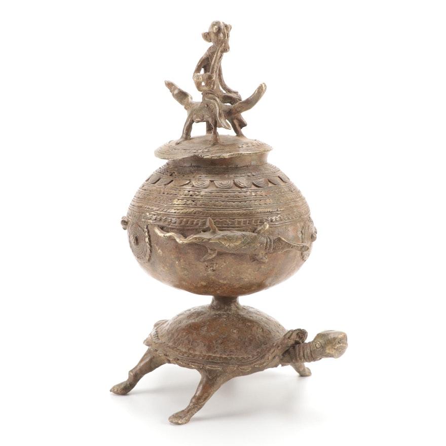 West African Bronze Alloy Lidded Vessel
