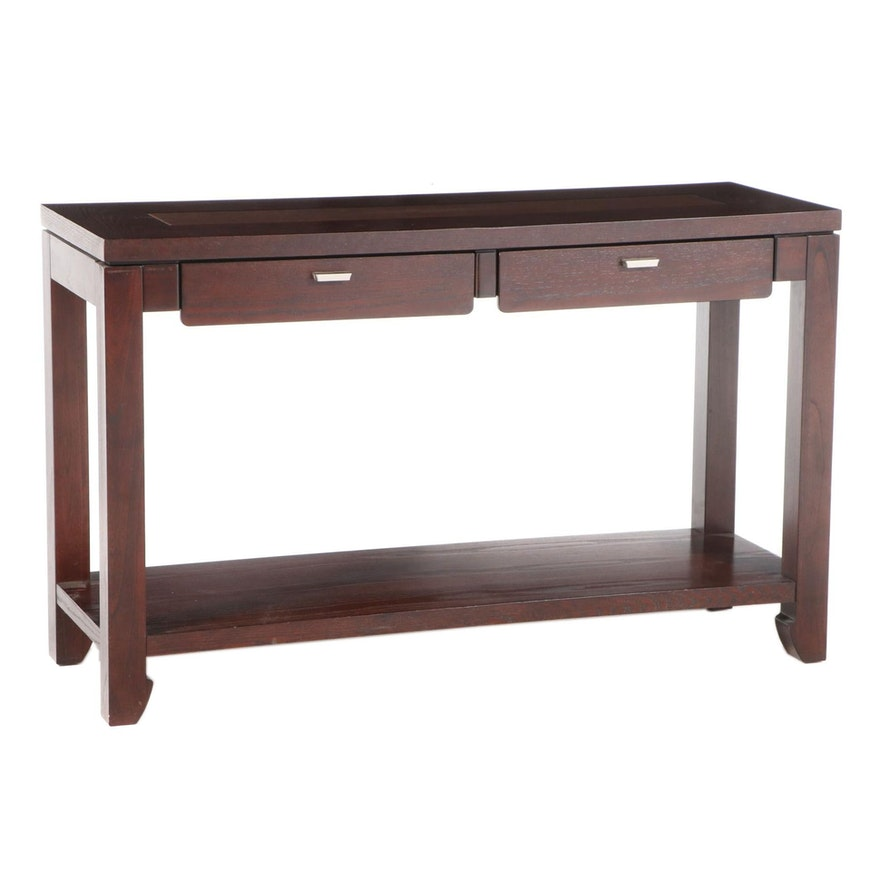Contemporary Stained Oak Vinyl Top Console Table
