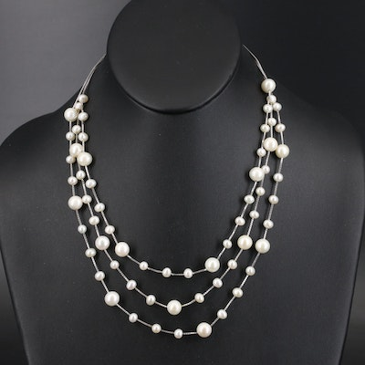 Sterling Pearl Multi-Strand Station Necklace