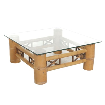 Glass Top Bamboo Coffee Table, Late 20th Century