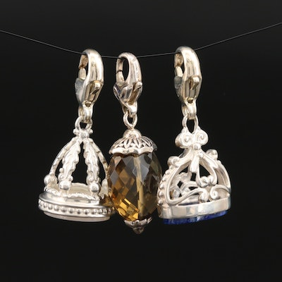 Sterling Lapis Lazuli, Mother of Pearl and SeidenGang Smoky Quartz Charms