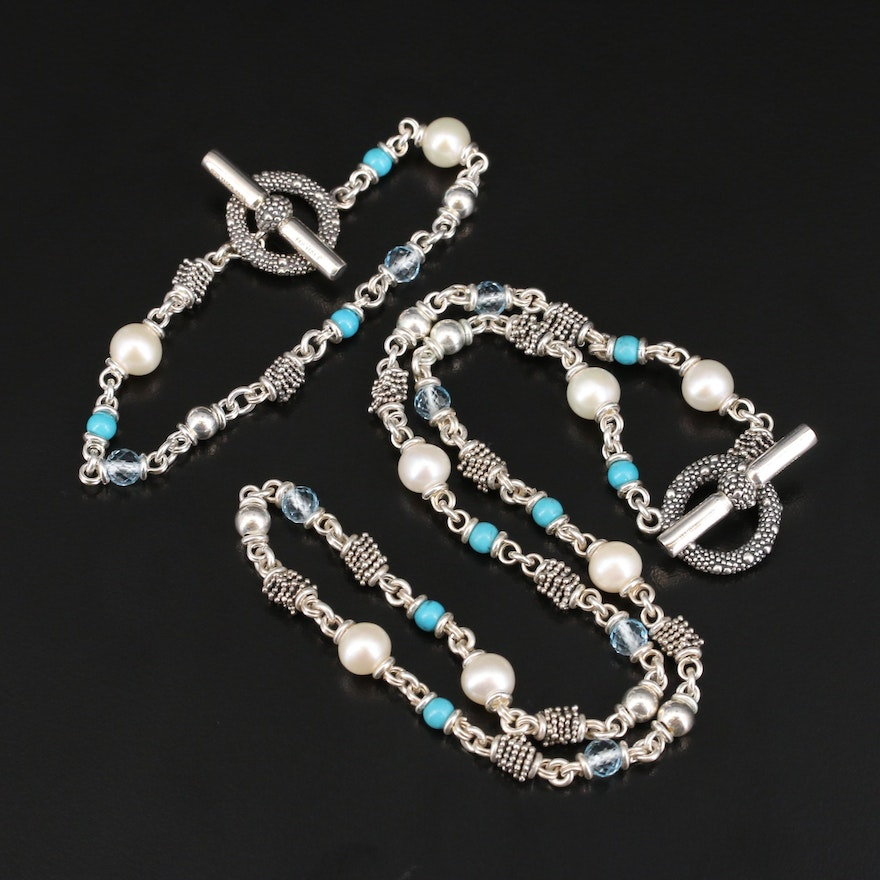 Michael Dawkins Sterling Pearl, Topaz and Faux Turquoise Necklace and Bracelet