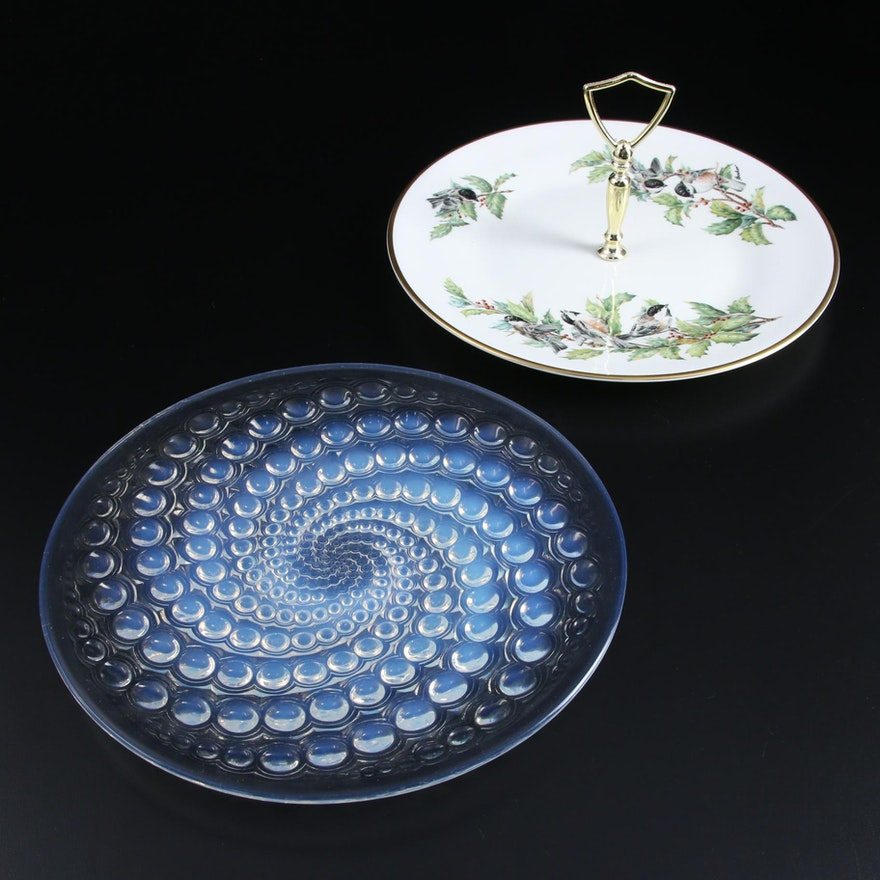 """Lalique """"Volutes"""" Opalescent Glass Plate with Boehm Porcelain Handled Server"""