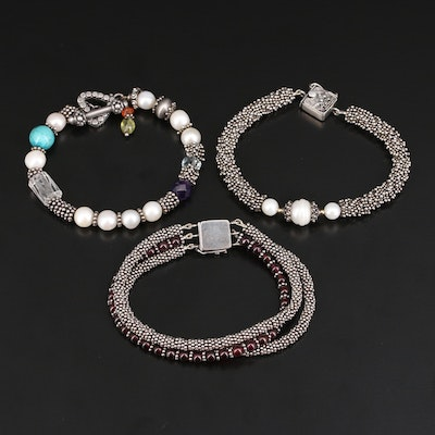 Sterling Garnet, Amethyst, Pearl and Gemstone Bracelet Selection