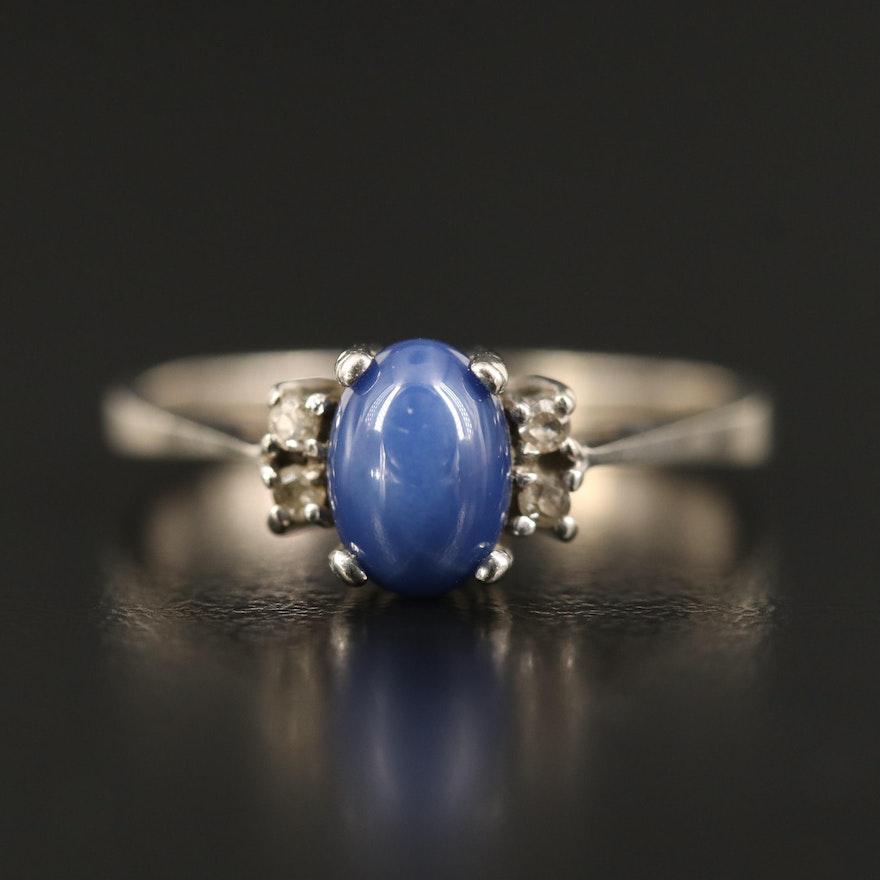 10K Star Sapphire and Diamond Ring