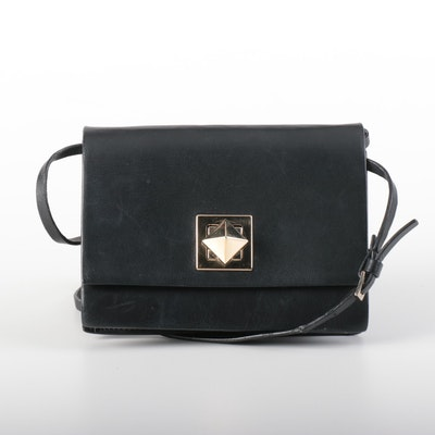 Valentino Black Leather Flap Front Crossbody Bag with Rockstud Closure