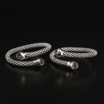 Michael Dawkins Sterling Silver Rock Crystal Quartz Bypass Bracelets