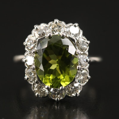Vintage 14K Peridot and 1.56 CTW Diamond Halo Ring