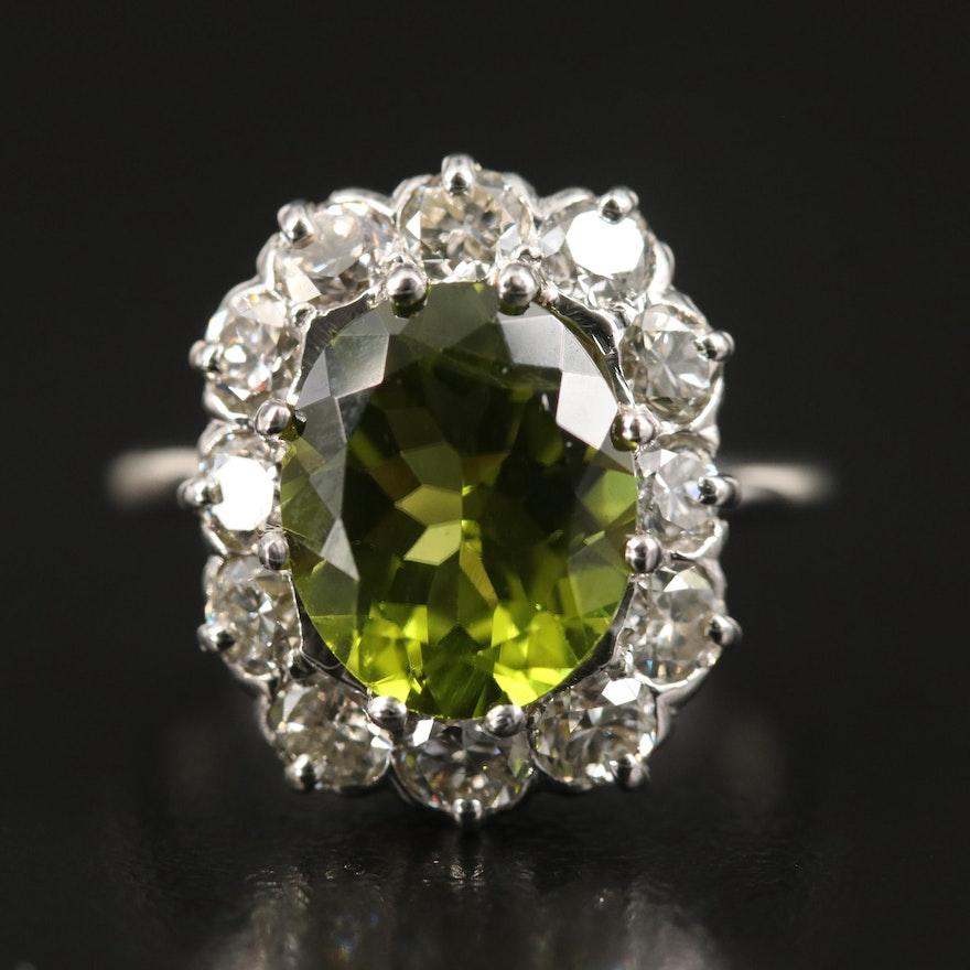 Vintage 14K Peridot and 1.56 CTW Diamond Halo Ring