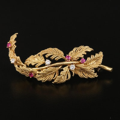 Vintage Tiffany & Co. 18K Ruby and Diamond Foliate Brooch