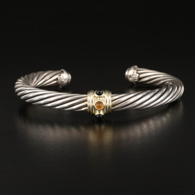 """David Yurman """"Classic Cable"""" Sterling Black Onyx, Citrine and 14K Accent Cuff"""