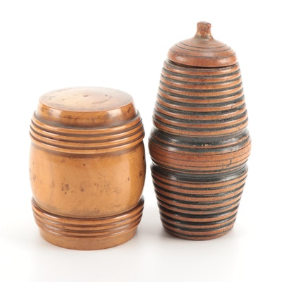 Turned Treen Ware Barrel Form Containers, Late 19th to Early 20th Century