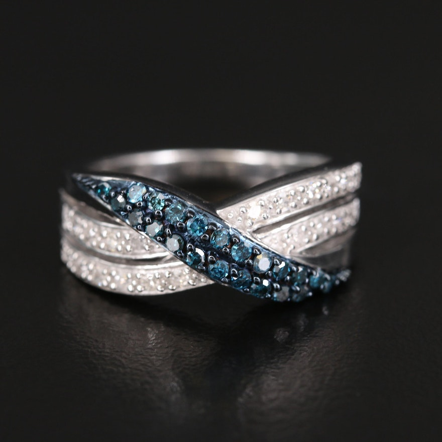Sterling Blue and White Diamond Criss-Cross Ring